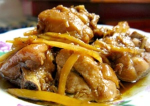 Chicken slow cooked with ginger